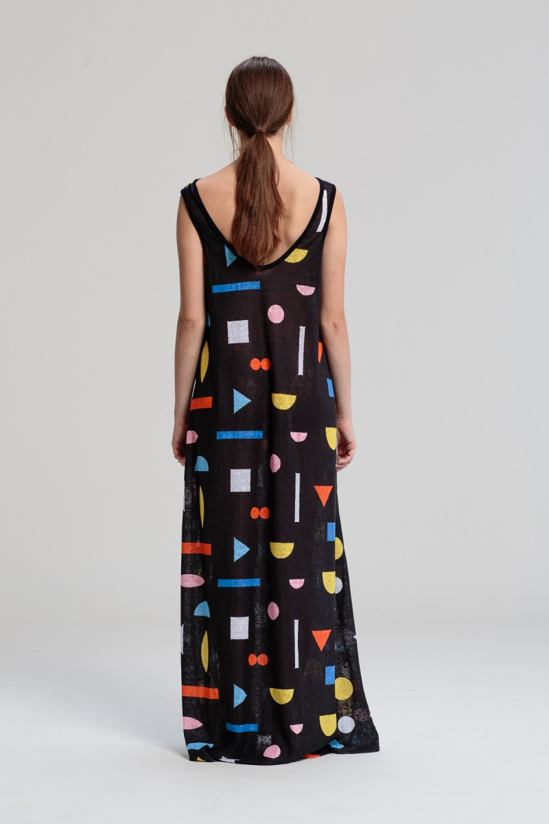 Geometrické maxi šaty — LS. Lenka Sršňová ab4d4837abb