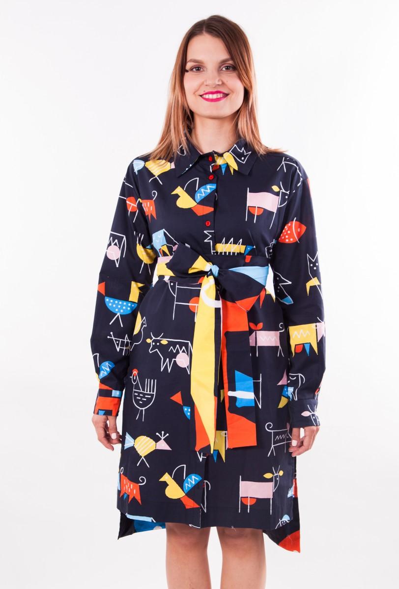 effa265c100e Košeľové šaty ZVERY color - black — LS. Lenka Sršňová